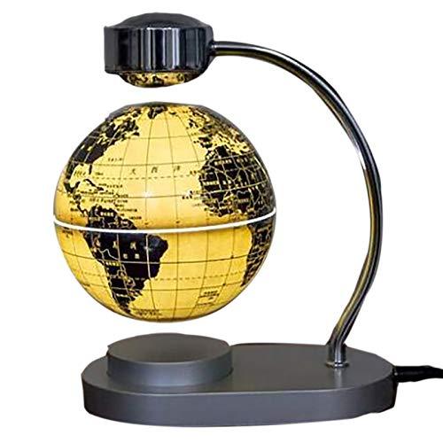 OMKMNOE Modelo De Globo Magnético Luminoso del Globo, Decoración De Escritorio De Oficina Flotantes Magnéticos Flotantes Mapáutico Mapa Globo con Pantalla,Amarillo
