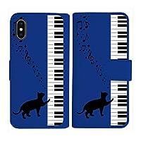 sslink iPhone XR Apple アイフォン iPhoneXR 手帳型 ダークブルー ケース ピアノと黒猫 ネコ 音符 ミュージック ダイアリータイプ 横開き カード収納 フリップ カバー