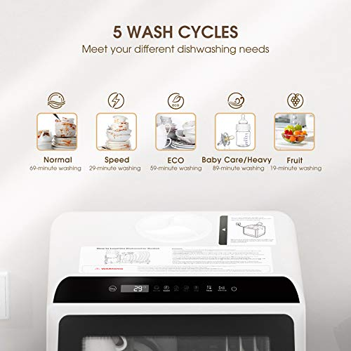 Product Image 7: Portable Countertop Dishwasher, NOVETE Compact Dishwashers with 5 L Built-in Water Tank & Inlet Hose, 5 Washing Programs, Baby Care, Air-Dry Function and LED Light for Small Apartments, Dorms and RVs