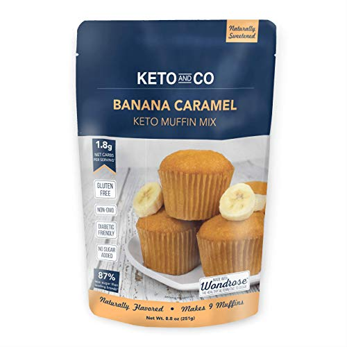Banana Caramel Keto Muffin Mix by Keto and Co | Just 18g Net Carbs Per Serving | Gluten Free Low Carb No Added Sugar Naturally Sweetened| Banana Caramel Muffins