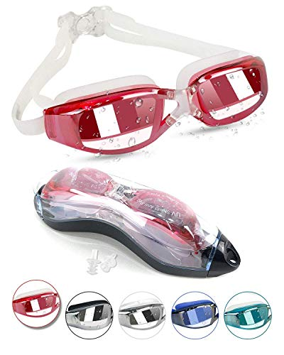 Kodior Schwimmbrille - Schwimmbrillen für Erwachsene Anti-Fog mit Antibeschlag und UV Taucherbrille für Männer Frauen Erwachsene Unisex Training Freizeit (Pink)