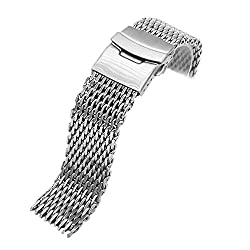 18mm/20mm/22mm/24mm Stainless Steel Dive Shark Mesh Milanese Watch Bracelet Strap Band (Silver, 22mm)