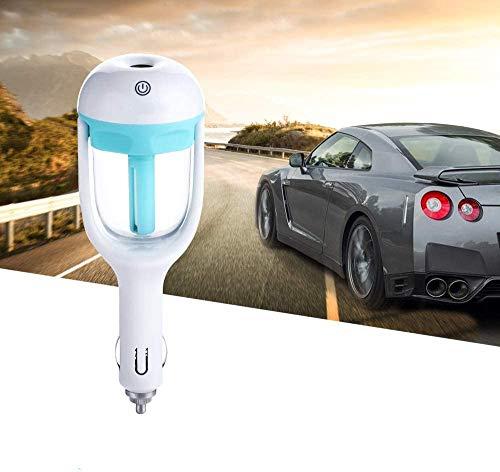 Difusor de aceite de Coche Portátil Purificador de Aire Difusor de Aceites Esenciales con Cargador de Coche USB Mini Humidificador Ultrasónico de Aire (azul)