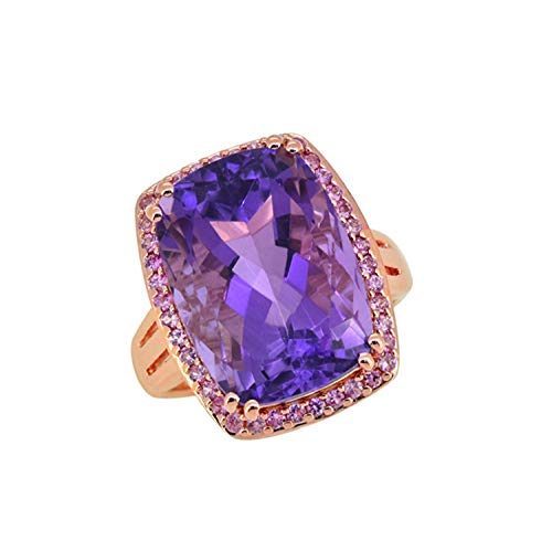 YoTreasure 13.44 ct Amethyst Pink Sapphire Sterling Silver Rose Gold Plated Ring Amethyst Pink Sapphire Ring