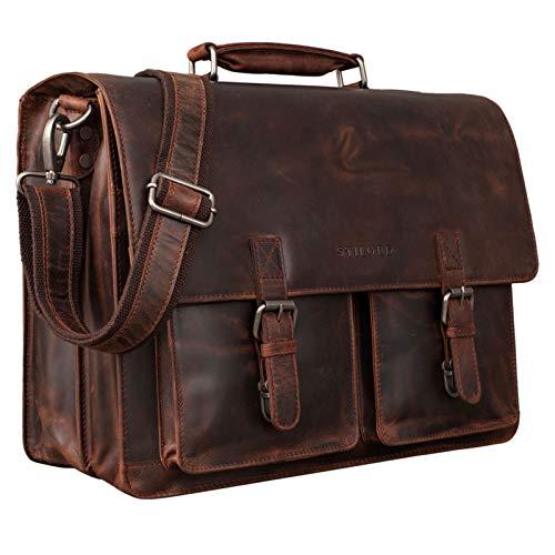 STILORD 'Clarence' Leder Businesstasche Männer Vintage Aktentasche Große Umhängetasche für 15.6 Zoll Laptop und Breite DIN A4 Ordner Trolley Aufsteckbar, Farbe:Zamora - braun