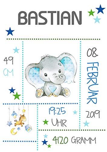 Personalisiertes BABY Geschenk zur Geburt zur Taufe TAUFGESCHENK Babygeschenk GEBURTSANZEIGE Namen Geburtsgeschenk Poster Bild Druck Babyelefant Jungen Blau