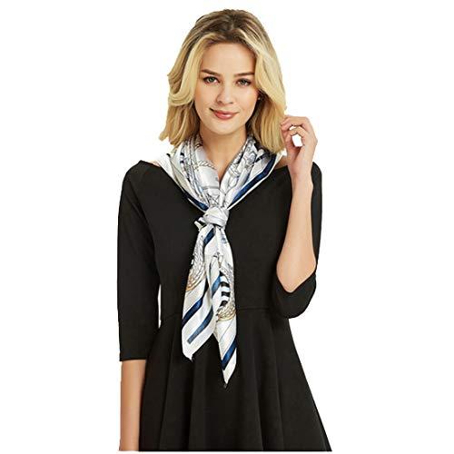 Elegante designer zijdedoek 90x90 cm | Dames doek marine kruisrit | Lente, zomer wit bont design doek | Business zijden sjaal | sjaal multifunctionele doek dames vrouwen halsdoek accessoire