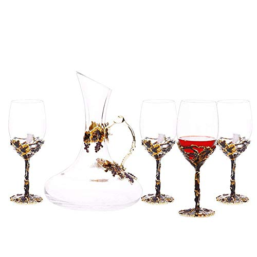 European Tea Set Gold Enamel Carved Red Wine Goblet Decanter Wine Glass Teapot Ceramic Bone China Tray Afternoon Tea Party