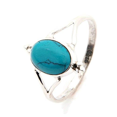 Ring Silber 925 Sterlingsilber Türkis blau grün Stein (Nr: MRI 111), Ringgröße:62