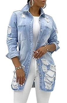Ripped Denim Jacket For Women Sexy Long Sleeve Classic Distressed pocket Jeans Coat Denim Trucker Jackets