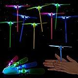 Helicóptero Noche Volando Juguete, GUBOOM 25 Piezas Volador Luminoso Arrow Rocket Copters con Luz LED Elastic Powered Sling Shot Heli para Fiesta, Regalo de Cumpleaños Infantil