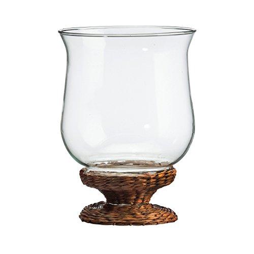 Amici Home, A7VA220S2R, Bahama Hurricane Glass Votive, All Natural Rattan Weave Base, Decorative Countertop Glassware, 8.25 Inches, Set of 2