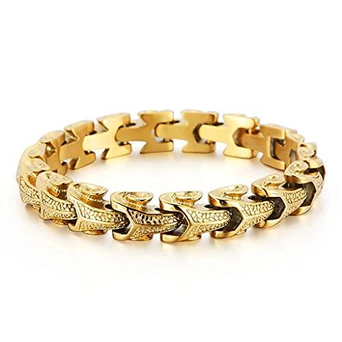 YABEME Pulsera de Dragón de Los Hombres, Gran Cadena de Acero Inoxidable Pesado de la Quilla de Alto Pulido Eslabón de la Quilla, Gothic Biker Punk Rock Hip Hop Rap Cool Wrist Jewelry Gift,Gold 21cm