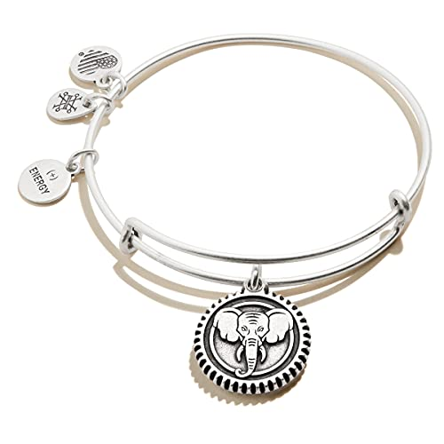Alex and Ani Path of Symbols Expandable Bangle for Women, Elephant Embossed Charm, Rafaelian Silver Finish, 2 to 3.5 in