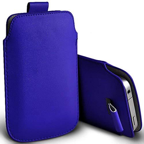ONX3 Blau Universal Pull Tab Mechanismus Schnur Slip-In Slide Pouch Hülse Kunstleder Fall Deckung kompatibel mit Lenovo Vibe S1 Lite