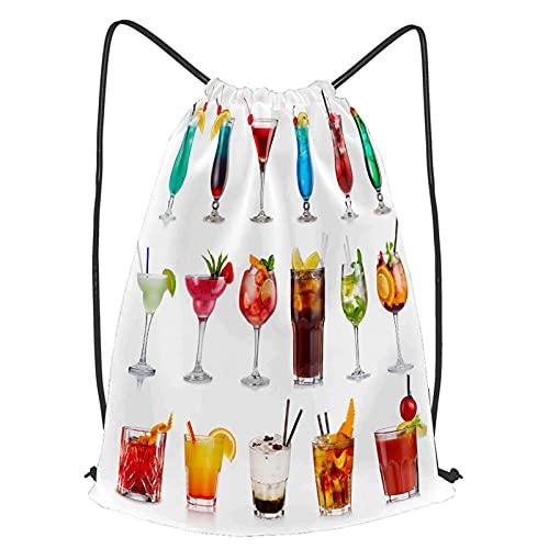 fudin Impermeable Bolsa de Cuerdas Saco de Gimnasio Establecer cócteles de alcohol clásicos aislados en Deporte Mochila para Playa Viaje Natación