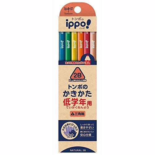 トンボ鉛筆 鉛筆 ippo! 低学年用かきかたえんぴつ 2B 三角軸 ナチュラル MP-SENN04-2B ×3 セット