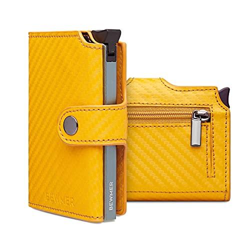 BEWMER II - Cartera y portatarjetas de crédito para hombre y mujer - Protección Rfid blindado anticlonación - Tarjetero y monedero diseño 100% italiano, Carbon Yellow,