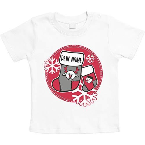 Baby Christmas geschenken sok met wensnaam unisex baby T-shirt maat 66-93