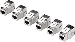6-Pack of Cat6a tool-less keystone jacks 180° angle termination design Catch for steady connection to copper Gigabit & 10G switches Compatible with Cat5e, Cat6 and Cat6a cabling Color-coded labeling for T568A and T568B wiring schemes