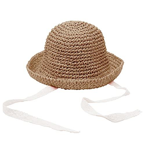 Sombrero de Paja de Verano para niños, Gorra de Playa para niñas, Gorra con Borde Flexible, Gorra de Encaje, Sombrero para el Sol Plegable para niños, 1-3 años (Blanco Crema, Talla única)