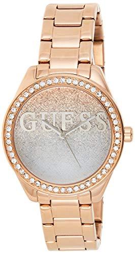 Guess Damen Analog Quarz Uhr mit Stahl Armband W0987L3
