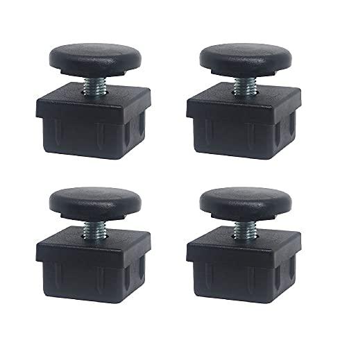 QUICKWARE Pack 4 x Patas Regulables para Tubo (40x40mm) en Poliamida Negra   Elevación Máx (35mm)   Incluye Nivelador + Cantonera   Ideal Hostelería