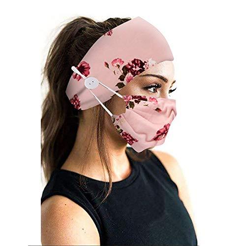 eBoutik – Bandeaux imprimés et masque facial avec bouton pour support de masque – Couverture faciale pour entraînement capillaire, Motif fleurs Rose