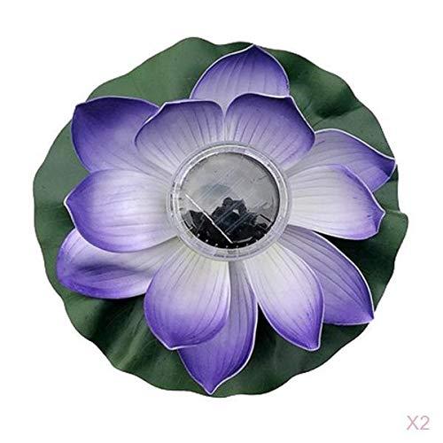 Fenteer 2 Stück Künstliche Schwimmende Lotusblume Solarleuchten Für Gartenteich Schwimmbad Dekor