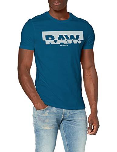 G-STAR RAW Herren Raw Graphic Slim T-Shirt, Cricket Blue 336-864, Large
