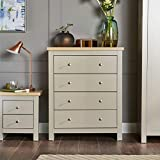 Home Source Chest of Drawers Grey Oak 4 Drawer Two Tone Wooden Bedroom Furniture Dorset