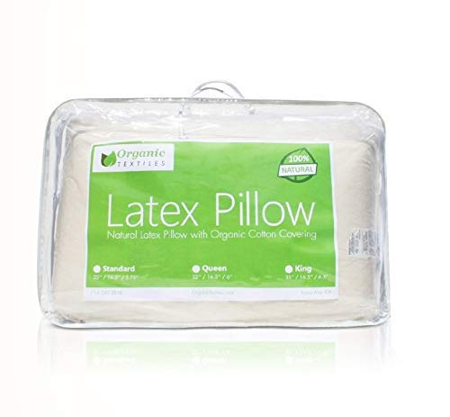 Organic Textiles Hypoallergenic Latex Pillow for Side Sleepers with 100% Cotton Pillow Protector...