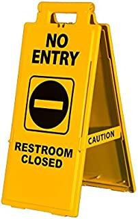 Cortina Lamba Safety Floor Sign, No Entry Restroom Closed, 03-600-37, 2 x 4, Yellow