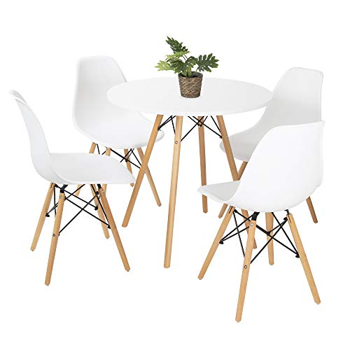 Bravich Mid-Cetury Retro Modern Style 80CM Round Dining Table And 4 Chair Set| 5PC Dining Set | Natural Wooden Legs |White Table and Chair Set