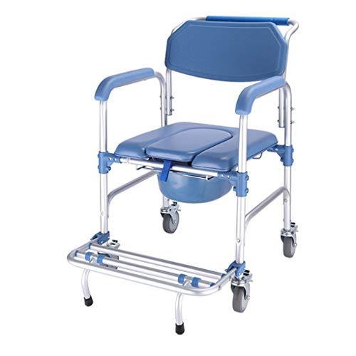 Wc-stoel met wieltjes, voor senioren, aluminiumlegering, multifunctioneel, kan worden ingeklapt, douchestoel