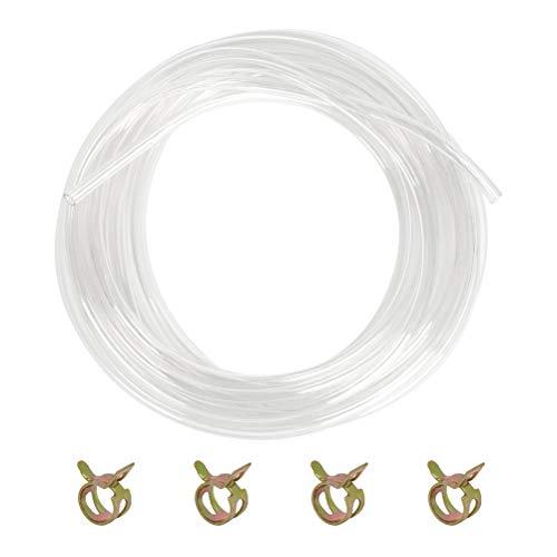 PVC-Schlauch transparenter, Wasserschlauch 8mmX10m, Luftschlauch, Kraftstoffschlauch, Benzinschlauch, Universalschlauch, Schlauch Ölschlauch, Wasserschlauch mit 4 Metallschnallen
