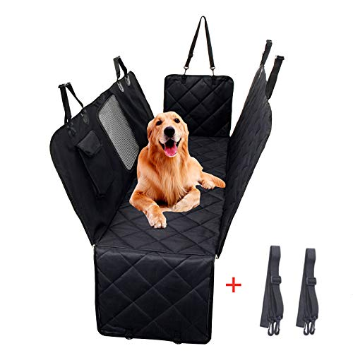 Dog Car Seat Cover,Waterproof with Door Protection Pet Seat Cover, Durable Nonslip Scratch Proof Washable Dog Car Hammock,Suitable for most Car Seat Covers (Black)