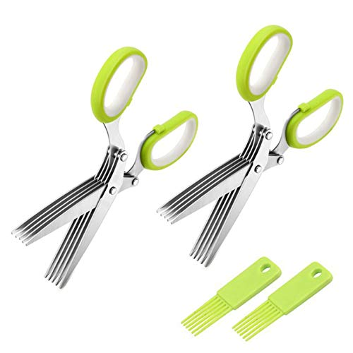 Herb Scissors, Multipurpose Kitchen Shears with 5 Stainless Steel Blades, Sharp and Anti-rust Herb Scissors Set for Cutting Cilantro Onion Salad Garden Herbs