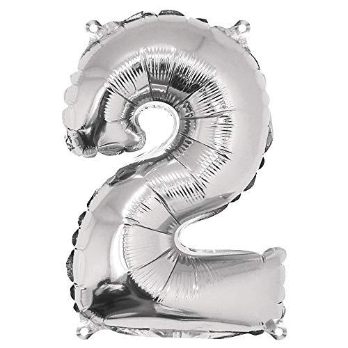 Rayher 87034606 Zahl 2 Party-/Folienballon, silber, 40cm hoch, zum Befüllen mit Luft, für Geburtstag, Silverster, Jubiläum