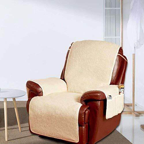 Funda de forro polar reclinable para sofá con bolsillo protector de muebles antideslizante para sillón, color beige, 198 x 65 cm