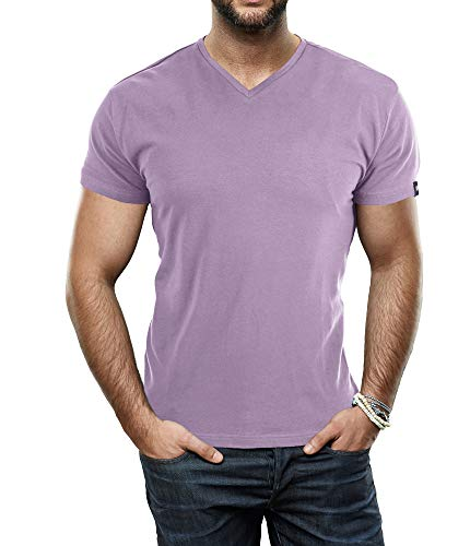 X RAY Men's Soft Stretch Cotton Solid Short Sleeve V-Neck Slim Fit T-Shirt, Fashion Casual Tee for Men Dusty Lavender