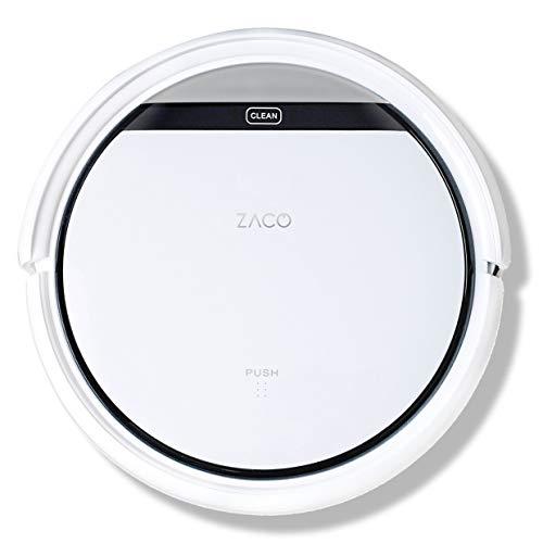 ZACO V3sPro -  Robot aspirador con 4 modos de limpieza,  fácil manejo y programación con el mando a distancia,  especial para pisos duros y la limpieza de pelos de mascotas,  color blanco nieve