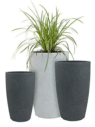 Pflanzwerk® Pflanzkübel Kunststoff Pipe Anthrazit 44cm Blumentopf *Frostbeständige Blumenkübel* *UV-Schutz* *Premium Pflanzenkübel Qualität*
