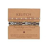 KELITCH 2PCSカラフルストランドブレスレットボヘミアン友情パールビーズブレスレットファッションジュエリー(パープルグレーC)