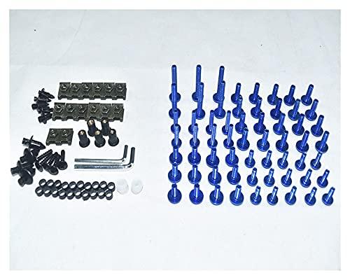 DFMY CNC Tornillos de Carga completos Cuerda Tornillos Tuercas Nuts Kit FIT FOR para Yamaha YZF R6 1998 1999 2000 2001 2002 2004 (Color : Blue)