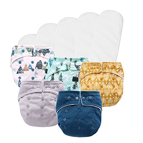 Miracle Baby Cloth Diapers,One Size Adjustable Reusable Washable Pocket Nappy,5pcs Diapers+ 5pcs Bamboo Inserts (Sport boy)