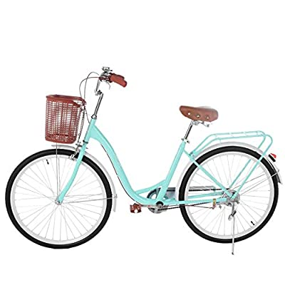 26 Inch Classic Bicycle Retro Bicycle Beach Cruiser Bicycle Retro Bicycle (Blue)