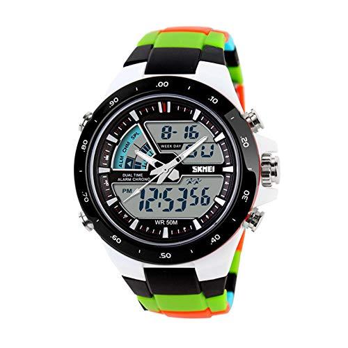JTTM Hombre Reloj Deportivo Digital con LED Luz De Fondo Grande Cara Resistente Al Agua Militar Relojes Casuales Luminoso Cronómetro Alarma Reloj Simple Militar – Dorado,Black Ribbon