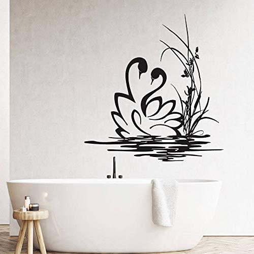 N\A Hermosa calcomanía de Pared de Cisne decoración de baño Pegatinas de Pared de Vinilo baño decoración del hogar Papel Tapiz artístico Impermeable extraíble