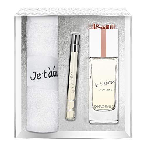 Evaflorparis Je T'Aime Mon Amour Gift Box Eau de Parfum 100 Ml + Pocket Atomizer 12 Ml + Hand Towel Set Women Spray for Her Women Perfume Evaflorparis 520 g